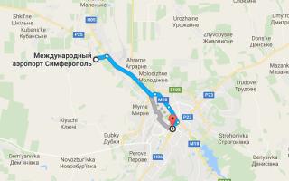 Аэропорт Симферополь на карте
