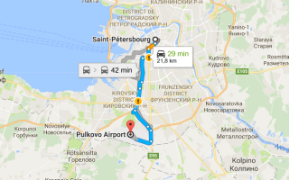 Аэропорт Пулково на карте Санкт-Петербурга