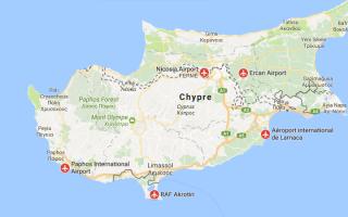 Международные аэропорты Кипра на карте